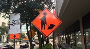 Downtown Tampa Road Work Sign